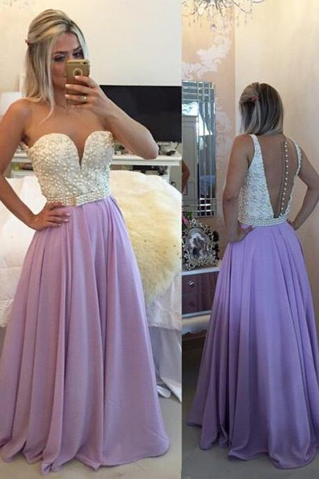 Lilac Prom Dress, Purple Prom Dress, Peals Prom Dress, Sheer Back Prom Dress, A Line Prom Gowns, Cheap Prom Dress