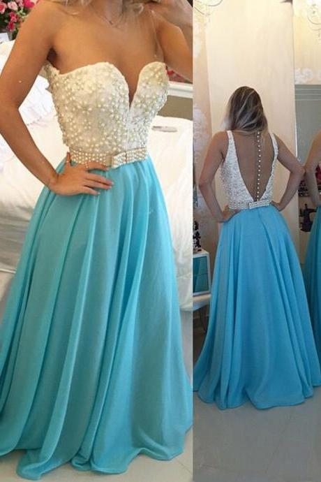 Blue Prom Dress, Peals Prom Dress, Elegant Prom Dress, A Line Prom Dress, Cheap Prom Dress, Prom Dresses 2017, Vestido De Festa