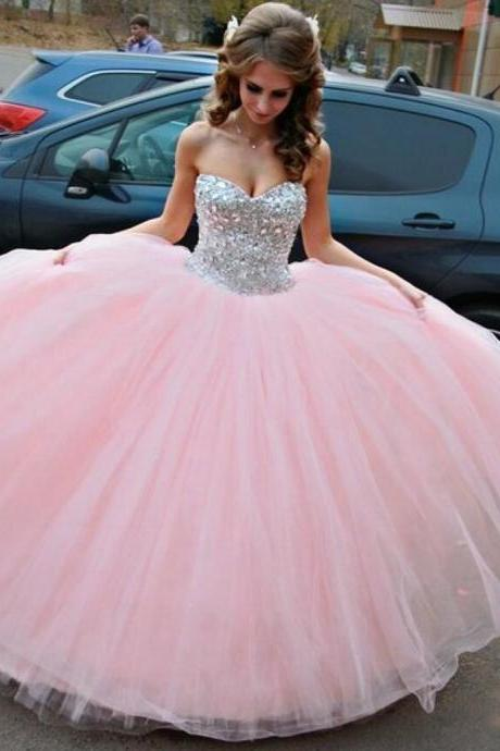 Pink Prom Dress, Sweet 16 Dresses, Crystals Prom Dress, Tulle Prom Dress, Puffy Prom Dress, Graduation Dresses 2020, Sweetheart Prom Dresses, 2021 Prom Ball Gown
