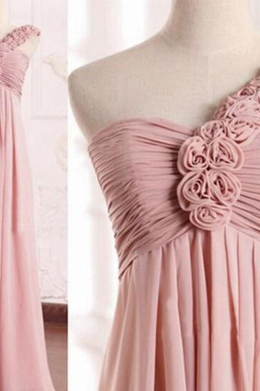 One Shoulder Bridesmaid Dress, Dusty Pink Bridesmaid Dress, Long Bridesmaid Dress, Chiffon Bridesmaid Dress, Bridesmaid Dresses 2017, Cheap Bridesmaid Dress, Wedding Party Dresses 2016