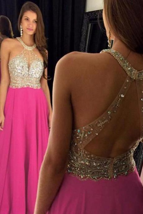 Hot Pink Prom Dresses, Crystals Prom Dresses, Evening Gowns 2017, A Line Prom Dresses, Sexy Prom Dress, Sparkly Prom Dress, Long Prom Dress