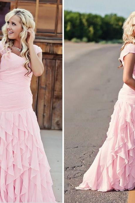 Pink Prom Dress, Tiered Prom Dress, Long Prom Dress, Chiffon Prom Dress, Prom Dresses 2017, Elegant Prom Dress, Cheap Prom Dress, Ever Pretty Prom Dress