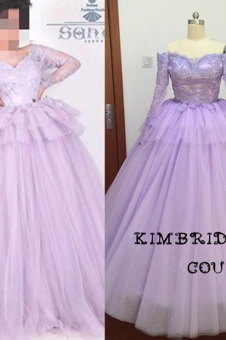 Purple Wedding Dress, Lace Wedding Dress, Princess Wedding Dress, Soft Tulle Wedding Dress, Real Photo Wedding Dress, Elegant Bridal Ball Gowns