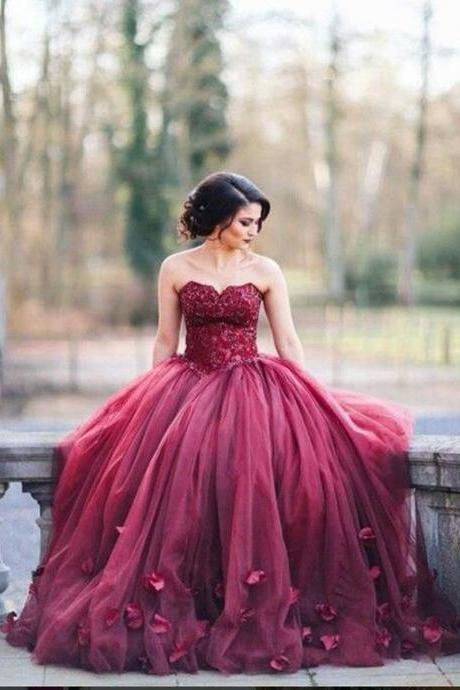Long Burgundy Wedding Tulle Ball Gown Featuring Floral Appliqué and Lace Appliqué Sweetheart Bodice