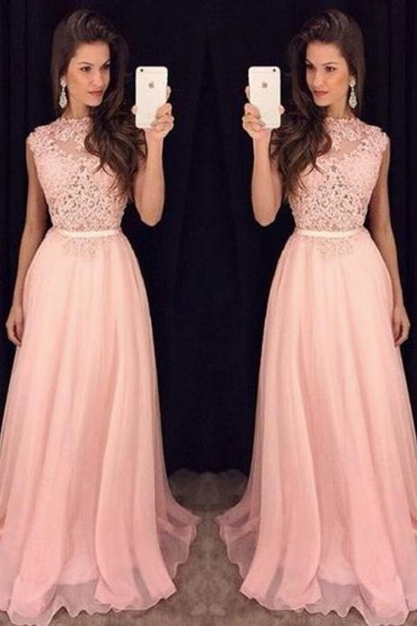 Pink Prom Dresses, Lace Prom Dress, Long Prom Dress, Elegant Prom Dresses, A Line Prom Dress, Applique Prom Dress, Evening Gowns 2017
