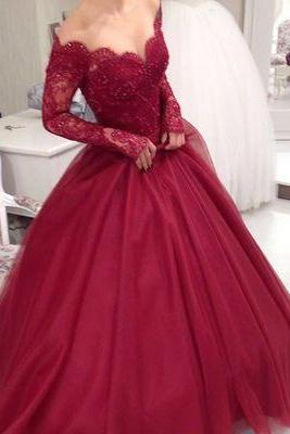 Long Sleeve Prom Dress, Lace Prom Dress, Burgundy Prom Dress, Tulle Prom Dress, Prom Dresses 2017, Elegant Prom Dress, Custom Prom Dresses, A Line Prom Dresses