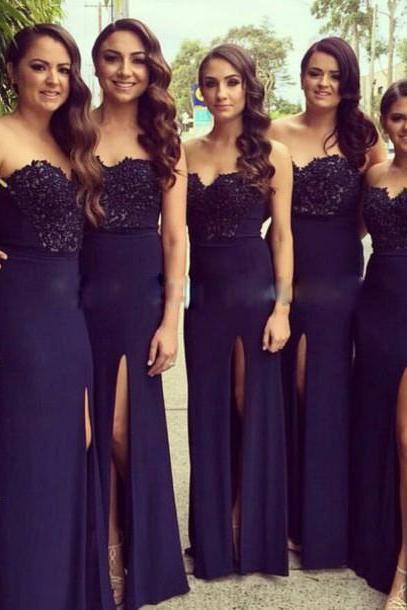 Navy Blue Bridesmaid Dress, Long Bridesmaid Dress, Lace Bridesmaid Dress, Bridesmaid Dress 2017, Women Bridesmaid Dress, Cheap Bridesmaid Dress