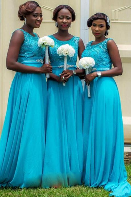 Blue Bridesmaid Dress, Long Bridesmaid Dress, Lace Bridesmaid Dress, Beaded Bridesmaid Dress, Elegant Bridesmaid Dress, Cheap Bridesmaid Dress, 2017 Bridesmaid Dress, Wedding Party Dresses