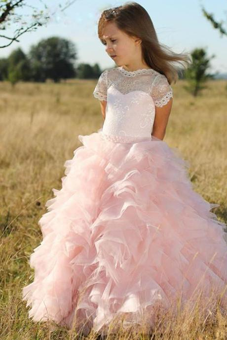 Pink Flower Girl Dresses, Pageant Little Girl Dresses, Lace Flower Girl Dress, Tiered Flower Girl Dress, Toddler Little Girl Dresses, Glitz Pageant Dresses For Little Girls