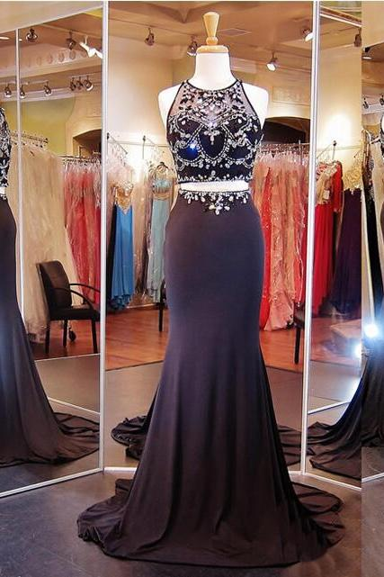 Black Prom Dress, Mermaid Prom Dress, Two Piece Prom Dress, Elegant Prom Dress, Sexy Prom Dress, Sheer Back Prom Dress, Rhinestone Prom Dress, Beading Formal Dress