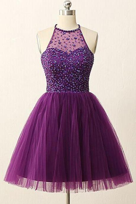 Purple Homecoming Dress, Short Homecoming Dress, Cheap Homecoming Dress, Graduation Dresses 2017, Tulle Homecoming Dress, A Line Homecoming Dress, Cocktail Dresses