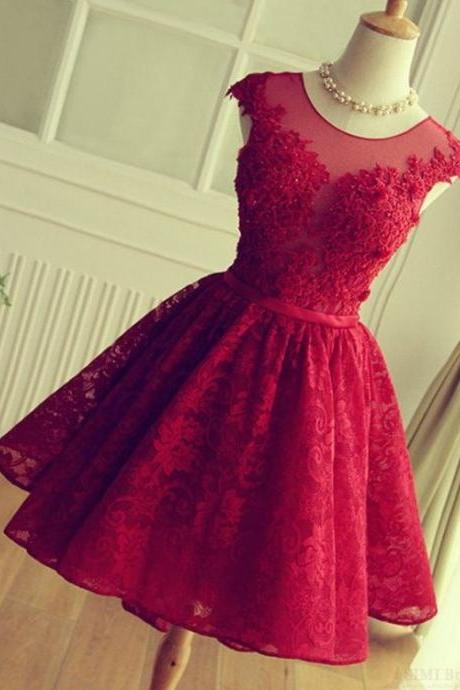 Burgundy Homecoming Dress, 2016 Homecoming Dress, Short Homecoming Dress, Homecoming Dresses 2017, Cheap Homecoming Dress, Lace Homecoming Dress, Beaded Prom Dress