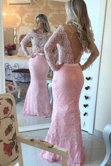 Backless Evening Dress, Off The Shoulder Evening Dress, Long Sleeve Evening Dress, Pale Pink Evening Dress, Mermaid Evening Dress, Lace Evening Dress, Sexy Formal Dresses, 2017 Formal Dress