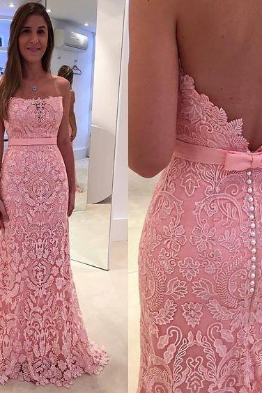 Strapless Evening Dress, Lace Evening Dress, Pink Evening Dress, Mermaid Evening Dress, Long Evening Dress, Elegant Evening Dress, Cheap Formal Dresses