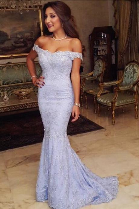 Blue Evening Dress, Elegant Evening Dress, V Neck Evening Dress, Mermaid Evening Dress, Cheap Formal Party Dresses, Long Evening Dress, Lace Evening Dress, Short Sleeve Evening Gowns