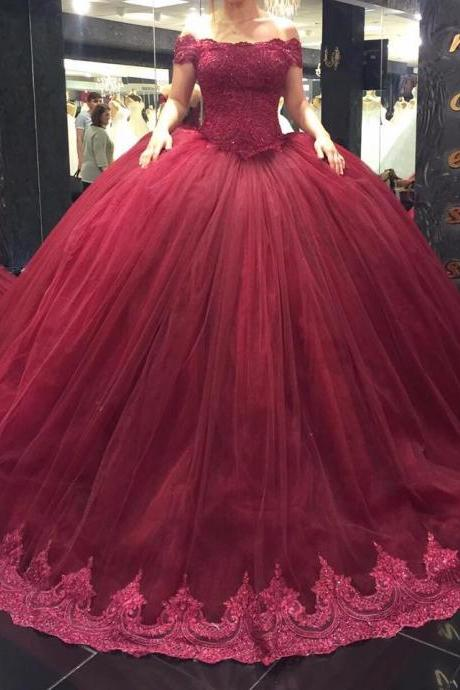 Burgundy Wedding Dress, Wedding Ball Gowns, Elegant Wedding Dress, Tulle Wedding Dress, Cheap Bridal Ball Gowns, Lace Wedding Gowns, Beaded Wedding Dress