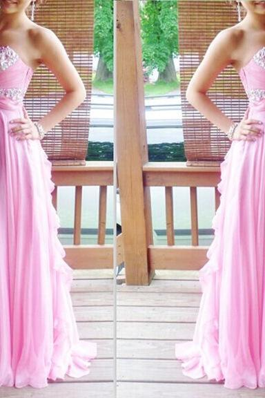 Pink Prom Dress, Rhinestones Prom Dress, Long Prom Dress, Cheap Prom Dress, Prom Dresses 2017, Chiffon Prom Dress, A Line Prom Dress, Women Formal Dresses