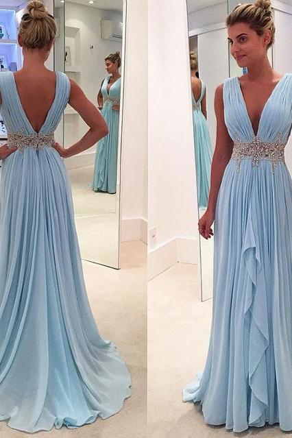 Light Blue Prom Dress, A Line Prom Dress, Deep V Neck Prom Dress, Prom Dresses 2017, Chiffon Prom Dress, Elegant Prom Dress, Long Prom Dress, Beading Prom Dress