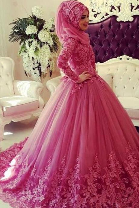 Pink Modern Muslim Wedding Dress With Hijab, Saudi Arabic Wedding Ball Gown, Lace Applique Wedding Dress, Muslim Wedding Dress with Hijab, Puffy Wedding Dress, Tulle Wedding Dress, Bridal Dresses 2017