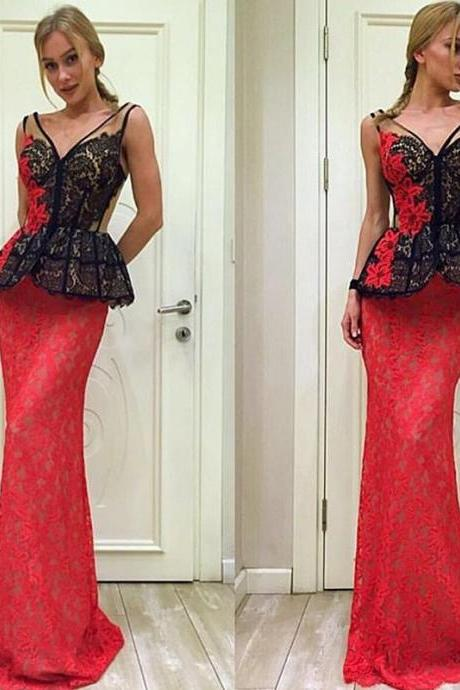 Red Evening Dress, Lace Evening Dress, Vintage Evening Dress, V Neck Evening Dress, Long Evening Dress, Applique Evening Dress, Cheap Evening Dress, Mermaid Evening Dress, Elegant Evening Dress