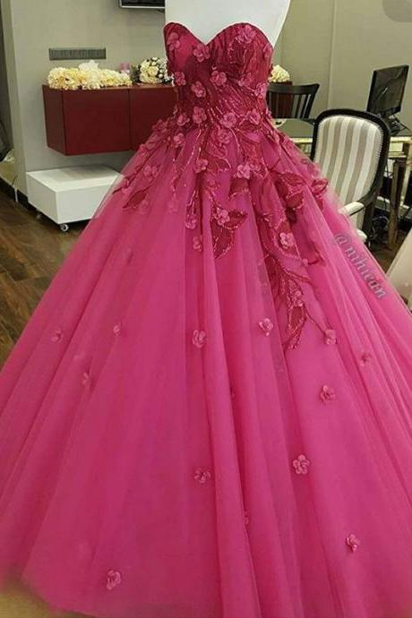 Hot Pink Prom Dress, Floral Prom Dress, Floor Length Prom Dress, Inexpensive Prom Dress, Elegant Prom Dress, Puffy Prom Dress, Cheap Prom Dress, Fuchsia Prom Dress