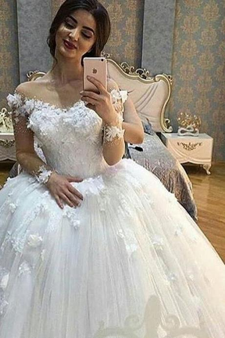 Luxury Wedding Dress, Ivory Wedding Dress, Flower Wedding Dress, Elegant Wedding Dress, Puffy Wedding Dress, Cheap Wedding Dress, Wedding Dresses 2017, Puffy Wedding Dress, Gorgeous Wedding Dress