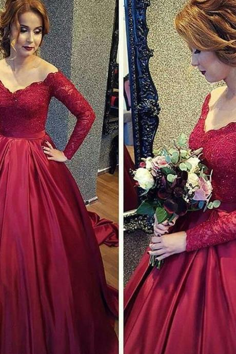 Wine Red Prom Dress, Satin Prom Dress, Long Sleeve Prom Dress, V Neck Prom Dress, Crystals Prom Dress, Elegant Prom Dress, Lace Prom Dress, Prom Dresses 2017
