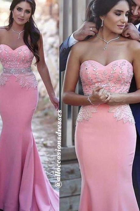 Pink Evening Dress, Beaded Evening Dress, Mermaid Evening Dress, Elegant Evening Dress, Satin Evening Dress, Applique Evening Dress, Long Evening Dress, Cheap Evening Dress, 2017 New Arrival Formal Dresses