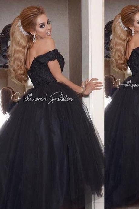 Black Prom Dress, High Low Prom Dress, Cheap Prom Dress, Lace Prom Dress, Prom Dresses 2017, Long Prom Dress, Tulle Prom Dress, Arabic Evening Gowns, Cheap Graduation Dresses, Cap Sleeve Prom Dress