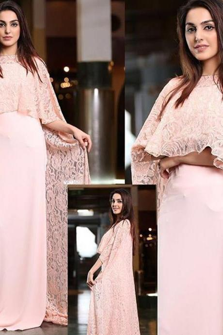 Dubai Caftan, Pink Evening Dress, Saudi Arabic Evening Dress, Lace Evening Dress, Muslim Kaftan, Chiffon Evening Dress, Elegant Evening Dress, Women Formal Dresses, Arabic Caftan