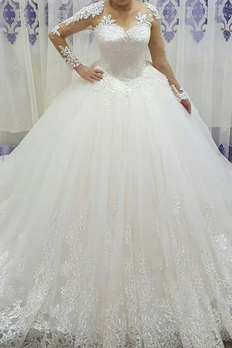 Long Sleeve Wedding Dress, Ivory Wedding Dress, Princess Wedding Dress, Lace Applique Wedding Dress, Puffy Wedding Dress, Sheer Sleeves Wedding Dress, Wedding Ball Gown, Cheap Wedding Dress, Elegant Wedding Dress