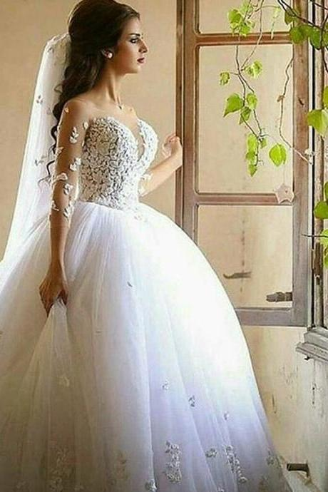 Saudi Arabic Wedding Gowns, Long Sleeve Wedding Dress, White Wedding Dress, Princess Wedding Dress, Vestido De Novia, Elegant Wedding Dress, Lace Applique Wedding Dress, Bridal Ball Gown 2017