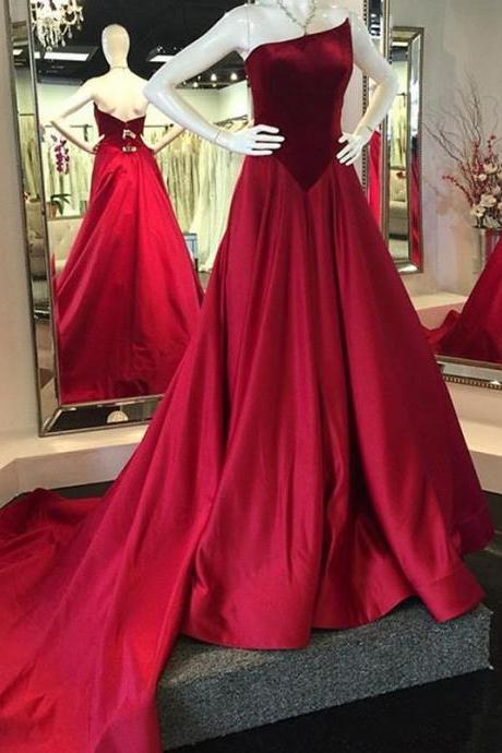 Velvet Prom Dresses, Elegant Prom Dresses, Wine Red Prom Dresses, Floor Length Prom Dresses, Cheap Prom Dresses, Satin Prom Dresses, Simple Prom Dresses, Prom Dresses 2017, Custom Make Prom Dresses