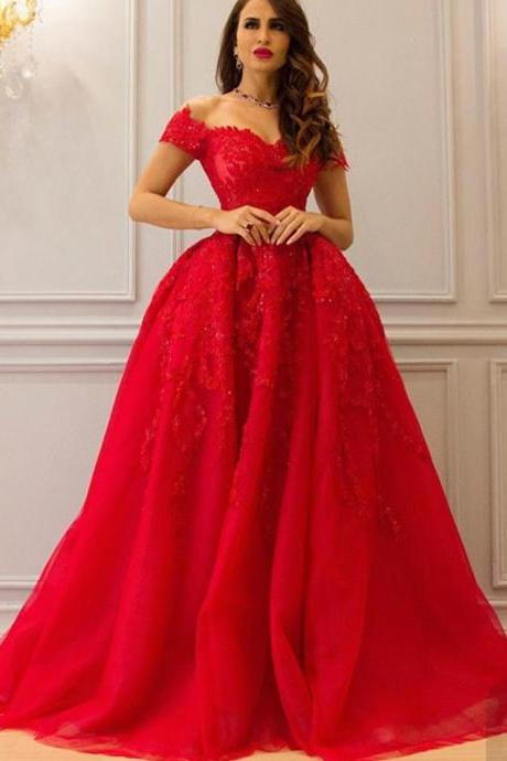 Red Prom Dress, Applique Prom Dress, Puffy Prom Dress, A Line Prom Dress, Short Sleeve Prom Dress, Prom Dresses 2017, Floor Length Prom Dress, Cheap Prom Dress, Arabic Evening Gowns, Sparkly Prom Dress