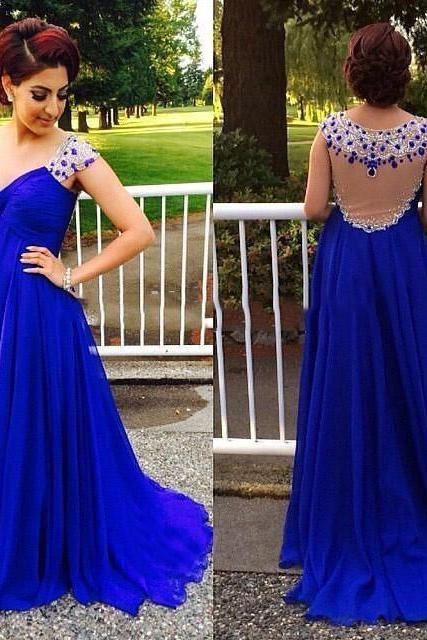 Crystals Prom Dress, 2017 Prom Dresses, Royal Blue Prom Dress, Empire Prom Dress, Plus Size Prom Dress, Cap Sleeve Prom Dress, Elegant Prom Dress, Chiffon Prom Dress, A Line Prom Dress, Prom Dresses 2017, Sheer Back Prom Dress,Women Formal Dresses