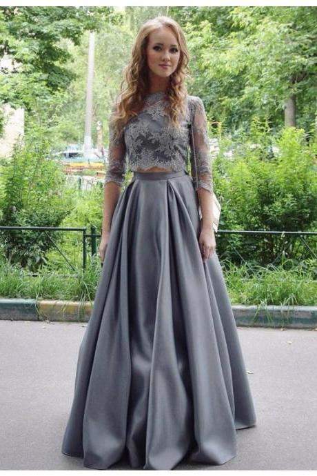 Gray Prom Dress, Lace Prom Dress, 2 Piece Prom Dresses, A Line Prom Dress, Satin Prom Dress, Elegant Prom Dress, Floor Length Prom Dress, Half Sleeve Prom Dress, Evening Dresses 2017, Formal Party Dresses