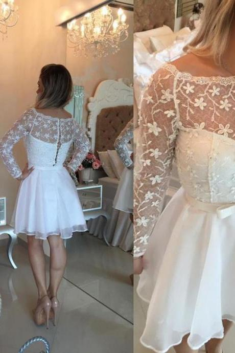 Ivory Homecoming Dress, Short Prom Dress, Long Sleeve Prom Dress, Lace Prom Dress, Cheap Prom Dress, Prom Dresses 2017, Chiffon Prom Dress, Graduation Dresses For Girls, Floral Prom Dresses