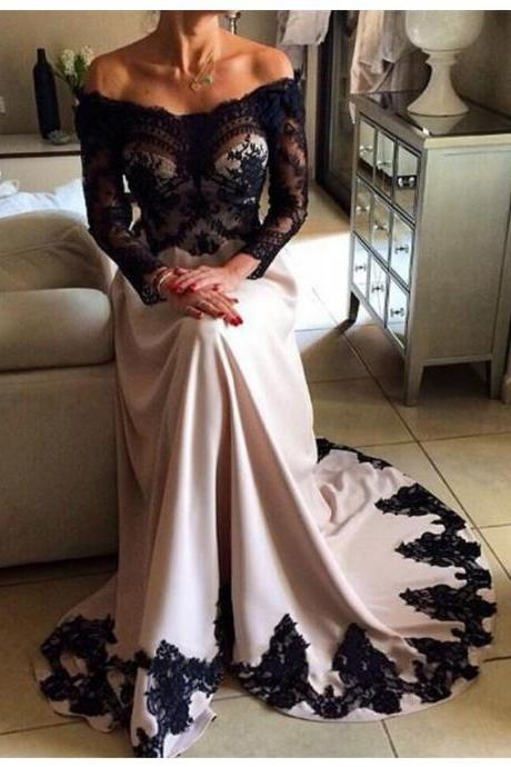 V Neck Prom Dress, Elegant Prom Dress, Lace Applique Prom Dress, Floor Length Prom Dress, Cheap Prom Dress, A Line Prom Dress, Long Sleeve Prom Dress, Women Formal Dresses, 2017 New Arrival Formal Dresses