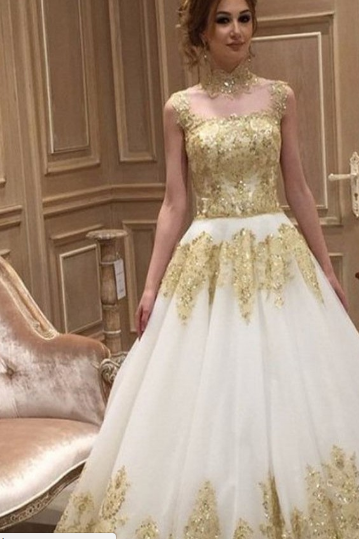 Gold Applique Wedding Dress, A Line Wedding Dress, Vintage Wedding Dress, Elegant Wedding Dress, Cheap Wedding Dress, 2017 Bridal Dresses, High Neck Wedding Dress, Saudi Arabic Wedding Gown, Luxury Wedding Dress, Gorgeous Wedding Dress