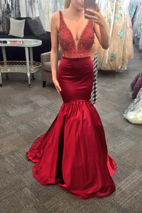Deep V Neck Evening Dress, Burgundy Evening Dress, Crystals Evening Dress, Long Evening Dress, Mermaid Evening Dress, Elegant Evening Dress, Cheap Evening Dress, Evening Dresses 2017, Formal Party Dresses