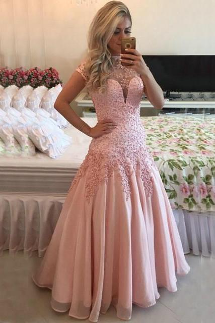 Pink Evening Dress, Mermaid Evening Dress, Crystals Evening Dress, Short Sleeve Evening Dress, Cheap Formal Dress, Long Evening Dress, Elegant Evening Dress, Formal Party Dresses, Evening Dresses 2017