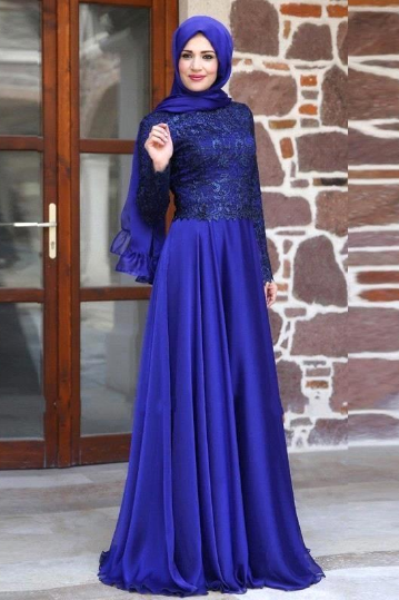 Muslim Evening Dress, Hijab Evening Dress, Royal Blue Prom Dress, Lace Prom Dress, Long Sleeve Prom Dress, Saudi Arabic Prom Dress, Prom Dresses 2017, Cheap Prom Dress, Modest Prom Dress, Women Formal Dress, Dubai Evening Gowns