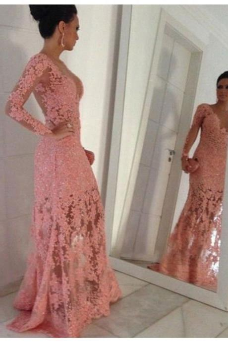 Sheer Back Evening Dress, Pink Evening Dress, Elegant Evening Dress, Lace Applique Evening Dress, Mermaid Evening Dress, Long Evening Dress, V Neck Evening Dress, Custom Make Evening Dress