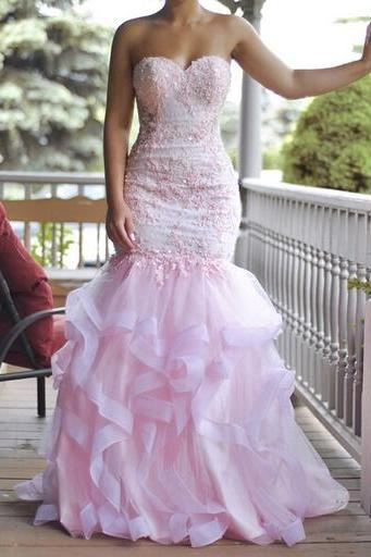 Pink Wedding Dress, Mermaid Wedding Dress, Tiered Wedding Dress, Cheap Wedding Dress, Elegant Wedding Dress, Crystals Wedding Dress, Lace Wedding Dress, Cheap Bridal Dresses, Wedding Dresses 2017, Custom Wedding Dress