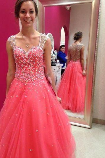 Coral Prom Dress, Rhinestones Prom Dress, Senior Formal Dress, Sparkly Prom Dress, Tulle Prom Dress, A Line Prom Dress, Elegant Prom Dress, Prom Dresses 2017, Long Prom Dress, Simple Prom Dress