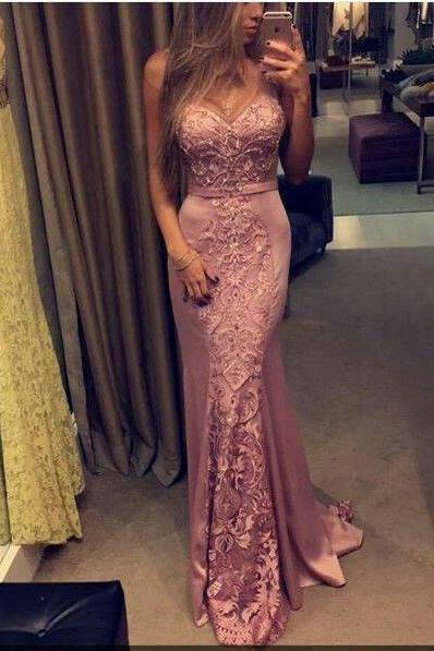Pink Evening Dress, Lace Evening Dress, Mermaid Evening Dress, Long Evening Dress, Elegant Evening Dress, Cheap Evening Dress, Formal Party Dress, Custom Evening Dress, Evening Dresses 2017