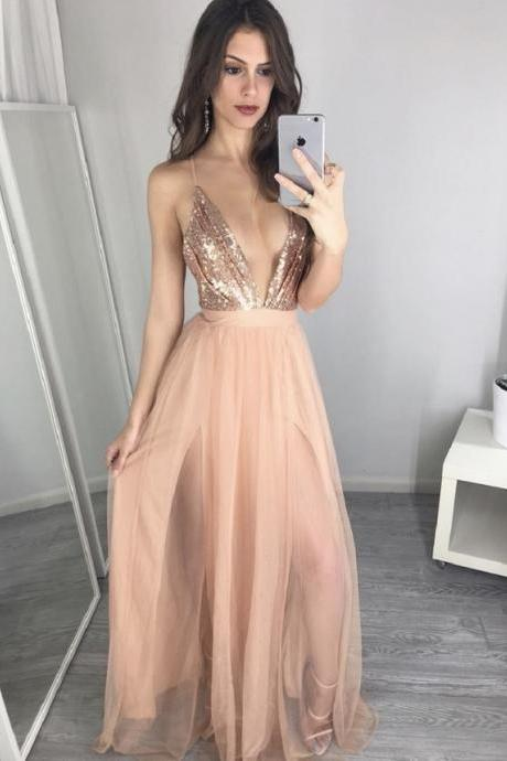 Rose Sequin Prom Dress, Sexy Prom Dress, Spaghetti Straps Prom Dress, Chiffon Prom Dress, Sparkly Prom Dress, Prom Dresses 2017, Long Prom Dress, Deep V Neck Prom Dress, Backless Prom Dress