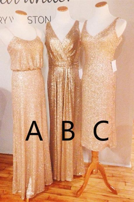 Mismatched Bridesmaid Dress, Rose Sequins Bridesmaid Dress, Sparkly Bridesmaid Dress, Long Bridesmaid Dress, Cheap Bridesmaid Dresses, Bridesmaid Dresses 2017, Junior Bridesmaid Dress