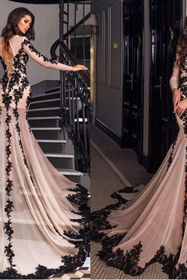Mermaid Evening Dress, Champagne Evening Dress, Lace Applique Evening Dress, Long Evening Dress, Long Sleeve Evening Dress, Modest Evening Gown, Cheap Evening Dress, Formal Party Dresses
