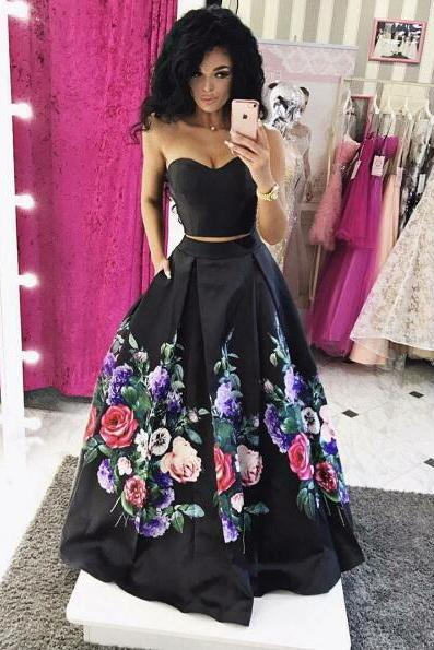 Custom Made Black Two-Piece Strapless Floral Print Long Evening Dress, Prom Dresses, Formal Dress, Wedding Dress